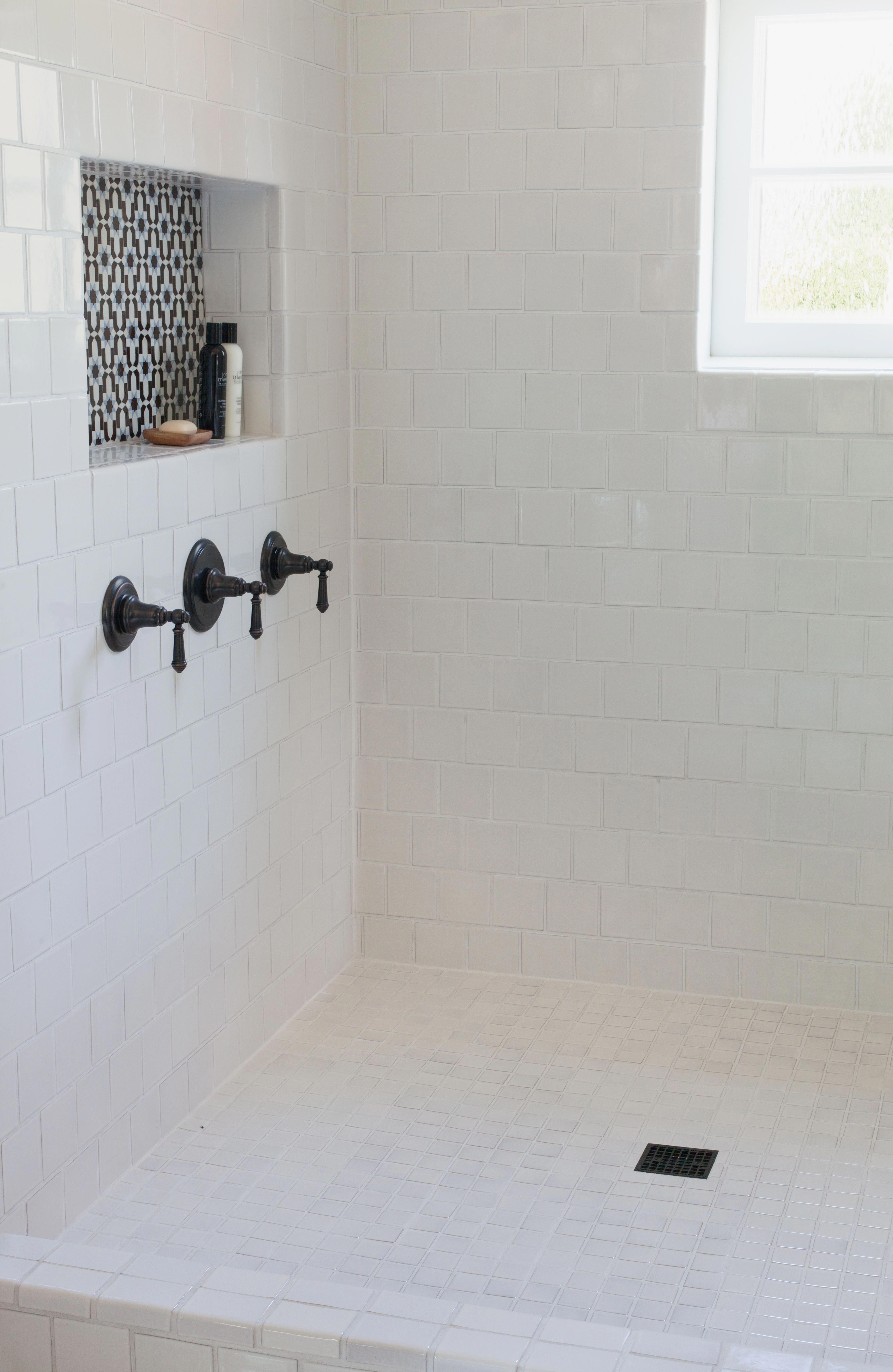 4 Square On Walls 2 Square On Floor 5 Tile Trends For 2016 Fireclay Tile Bathroommakeover Shower Shelves Bathroom Flooring Bathroom Inspiration