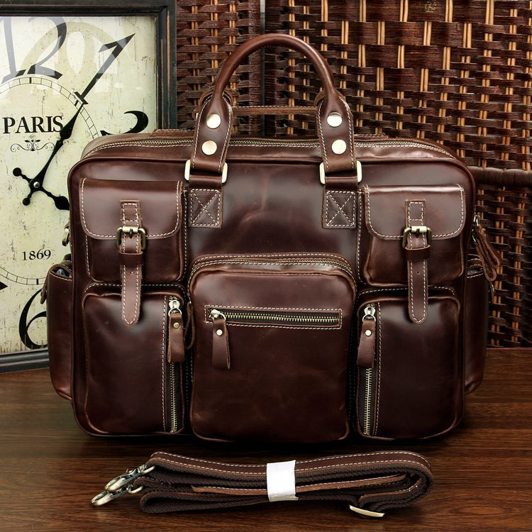 Rare Crazy Horse Leather Men's Briefcase Laptop Bag Dispatch ...