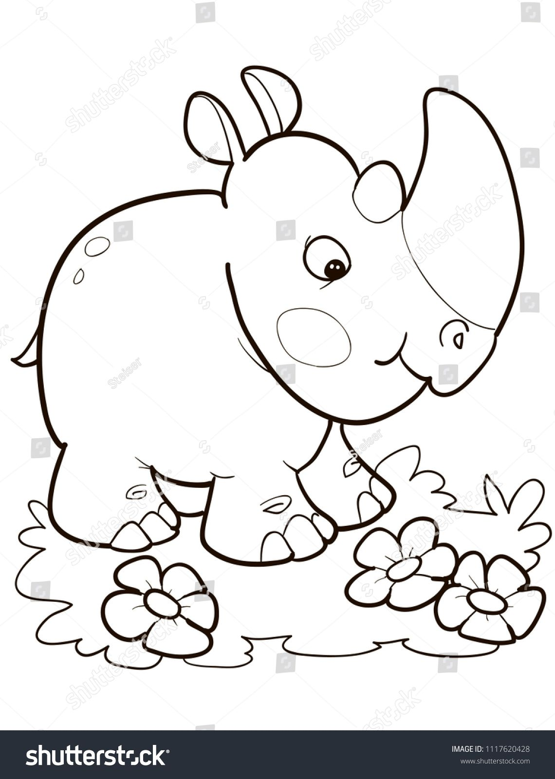 Coloring Page Outline Of Cartoon Cute Rhino Vector Illustration Summer Coloring Book For Kids Ad Spons Cute Coloring Pages Coloring Pages Animal Outline