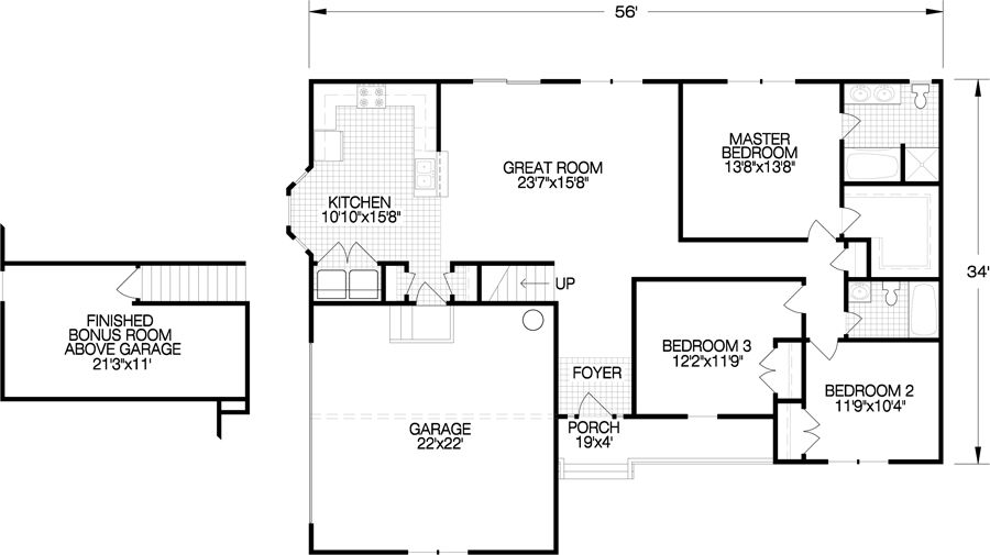 The haley floorplan features 3 bedrooms and 2 baths in a for 2 car garage with bonus room