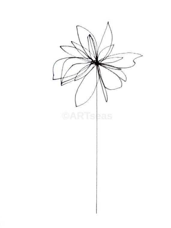Original Botanical Drawing Minimalist Flower Drawing