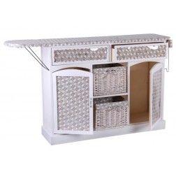 Mueble plancha madera blanco circulos muebles para for Mueble para planchar ikea