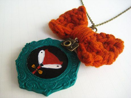 Polymer clay hand painted fox necklace with hand knitted bow