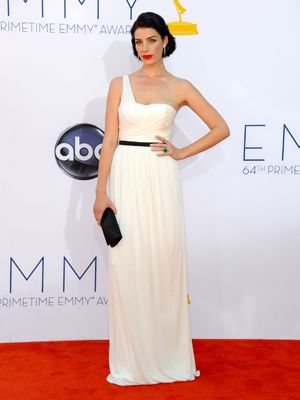 Mad Men star Jessica Pare oozed old Hollywood glamour in an off-the-shoulder Jason Wu gown. #Emmys #BestDressed