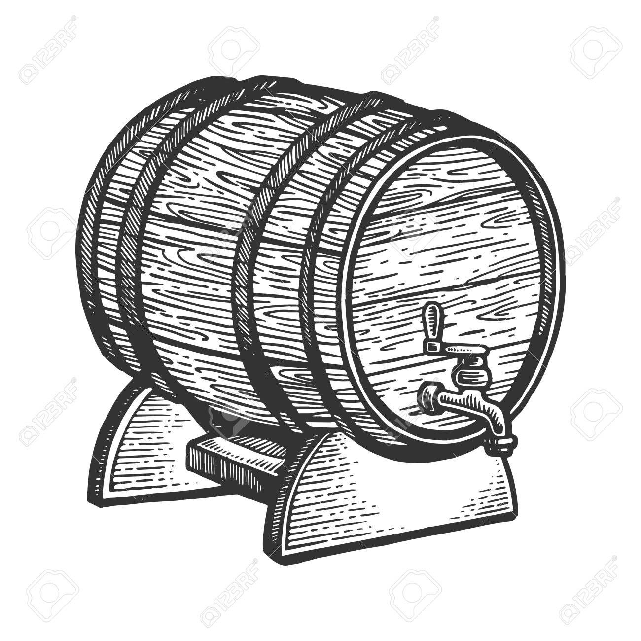 Wine Beer Barrel Engraving Vector Illustration Sponsored Barrel Beer Wine Illustration Vector Beer Barrel Beer Icon Engraving Illustration