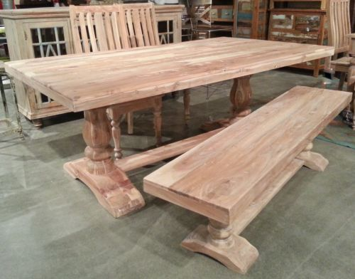 Details About 76 Solid Acacia Wood Double Pedestal Trestle