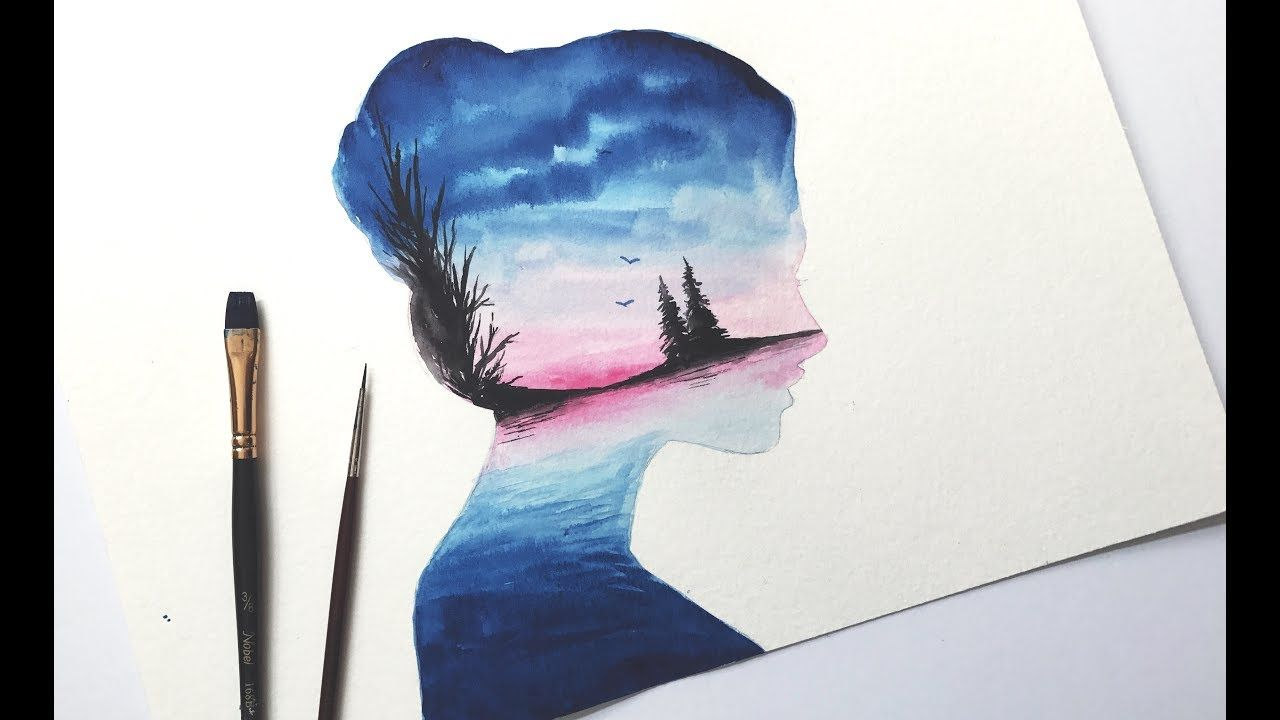 Simple Watercolour Double Exposure Tutorial Youtube