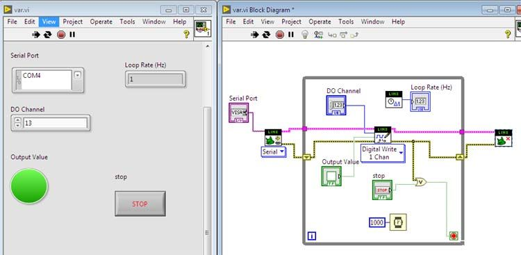 Working simulation of LED Blinking using LabVIEW | Arduino Projects