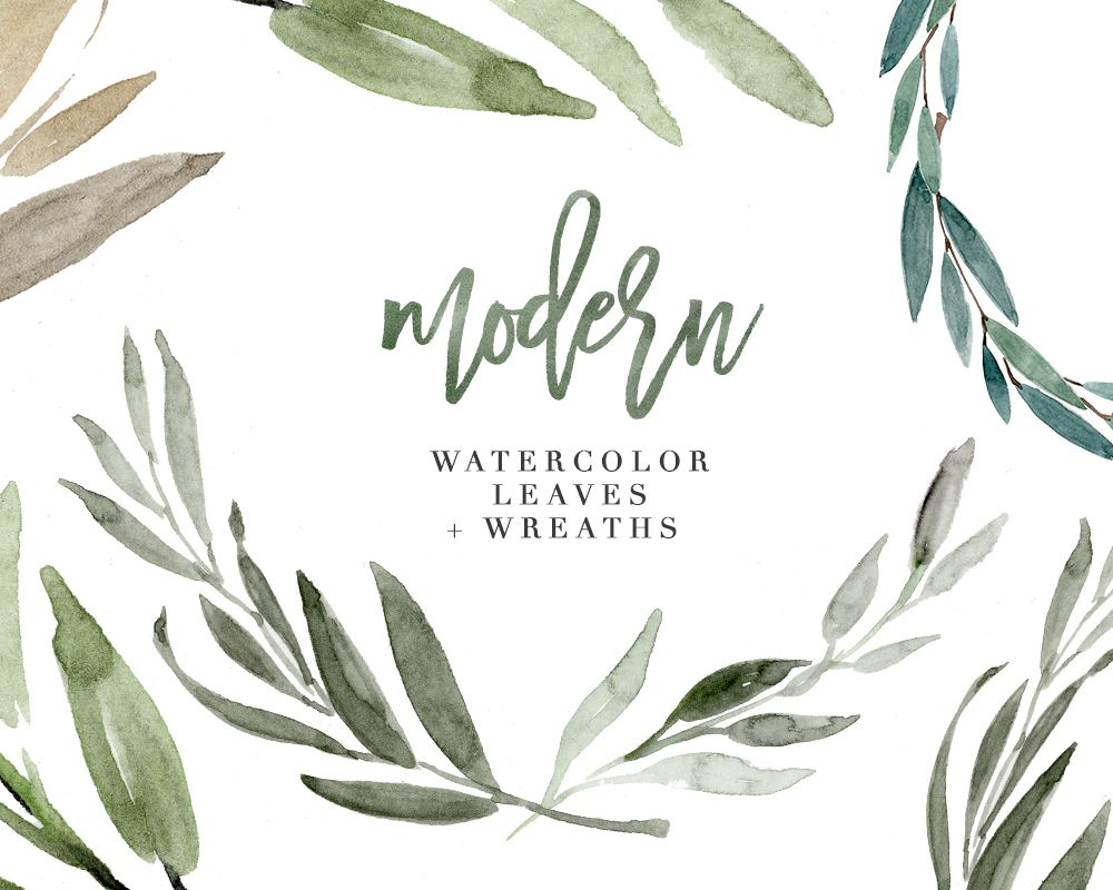 Modern Watercolor Leaves Clipart Eucalyptus Wreath Greenery