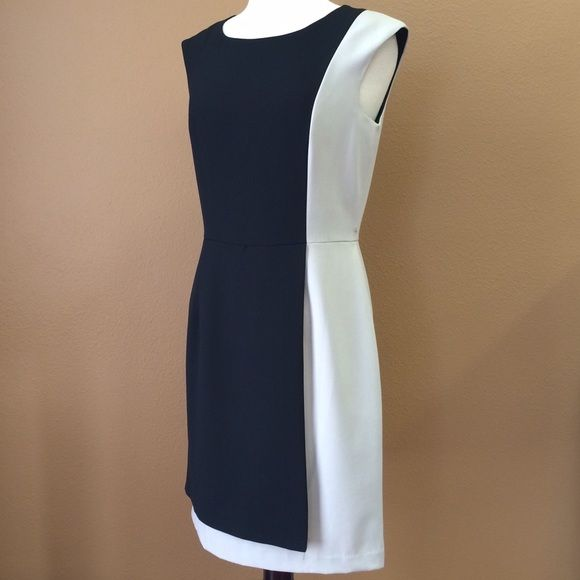 CALVIN KLEIN Color Block Dress Black and beige Calvin Klein Color Block Dress Calvin Klein Dresses Midi