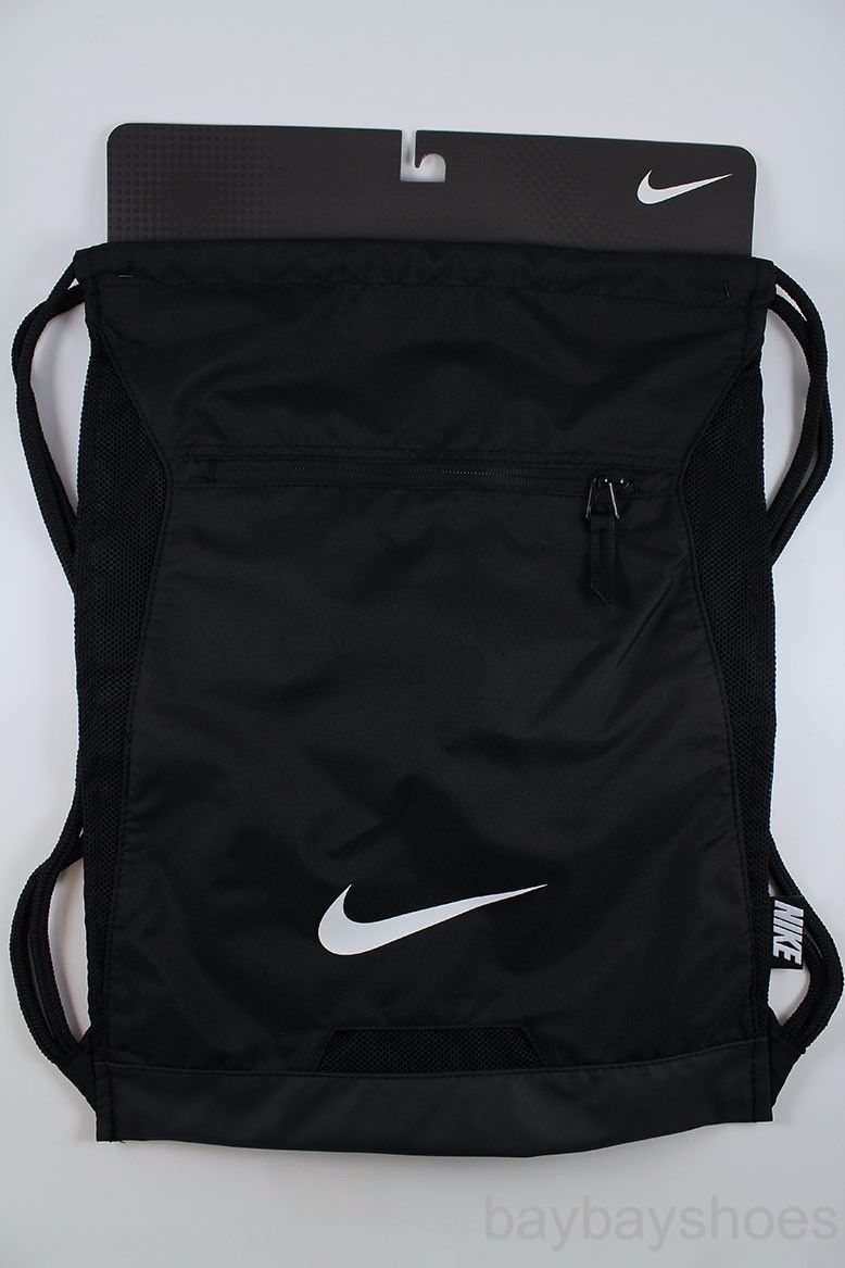 NIKE ALPHA ADAPT GYMSACK BLACK DRAWSTRING BAG BACKPACK GYM SACK TEAM  TRAINING  ff8b95b701661