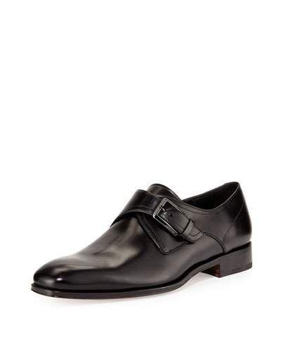 SALVATORE FERRAGAMO Modugno Calfskin Single Monk-Strap Loafer, Black. #salvatoreferragamo #shoes #flats