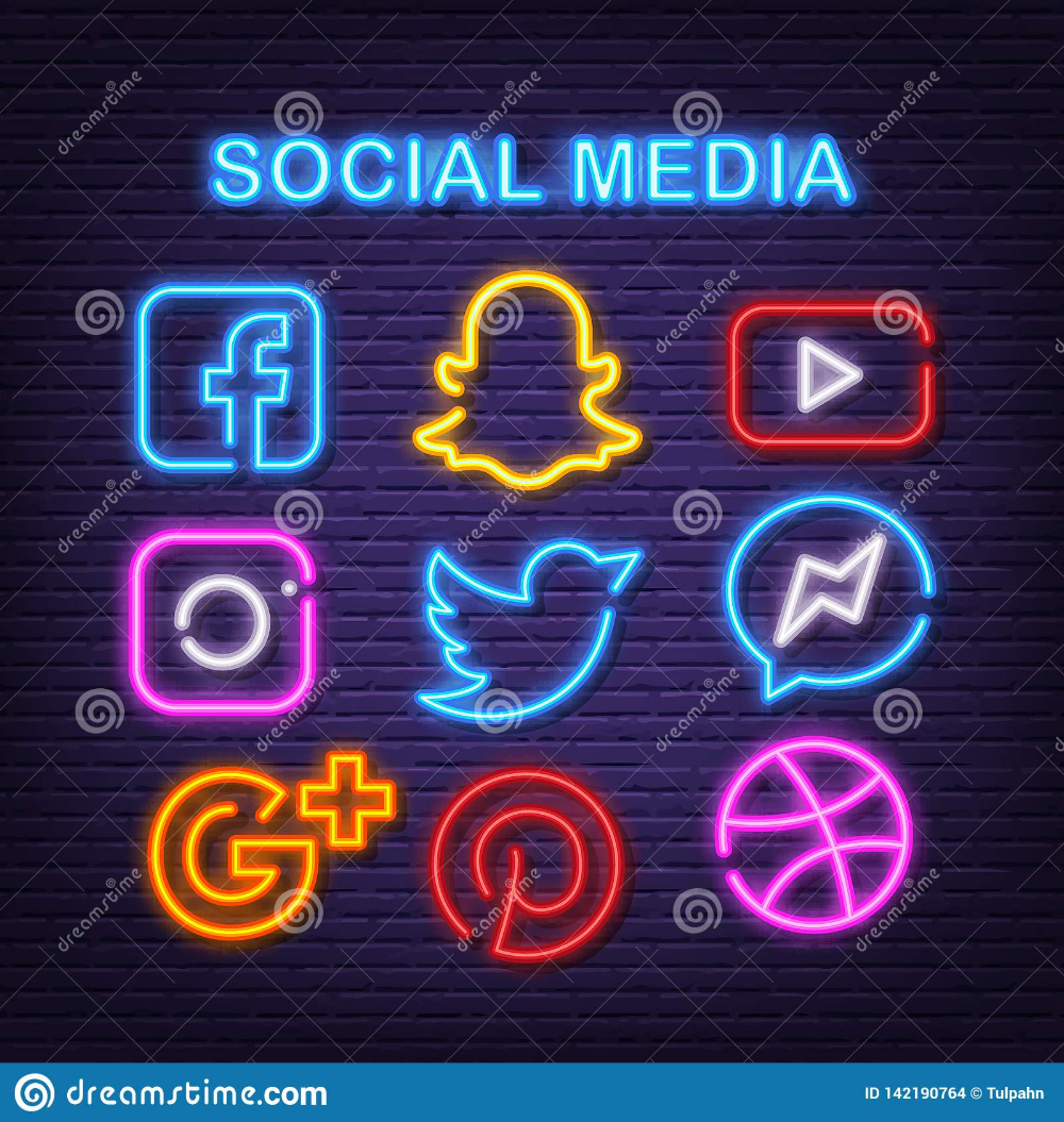Illustration about Social media neon icons, vector neon