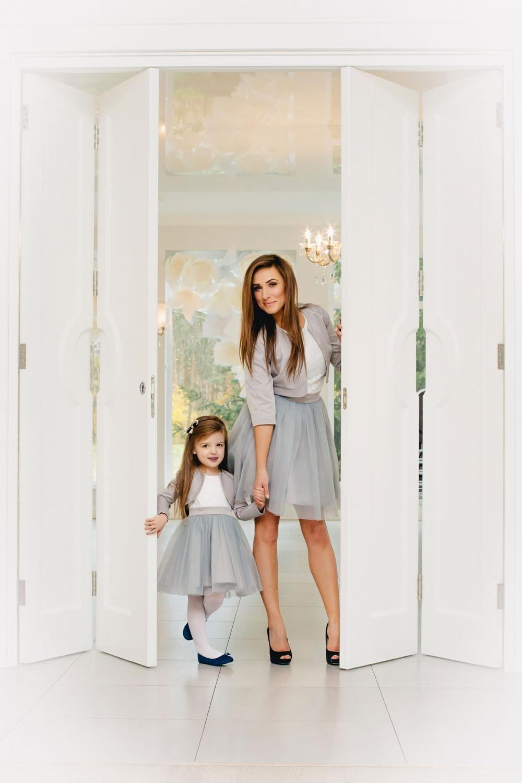 Mutter Tochter Kleid festlich mit Tüllrock grau oder anderen