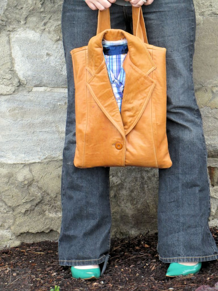 Upcycled Leather Tote BagThis bag is made from an old