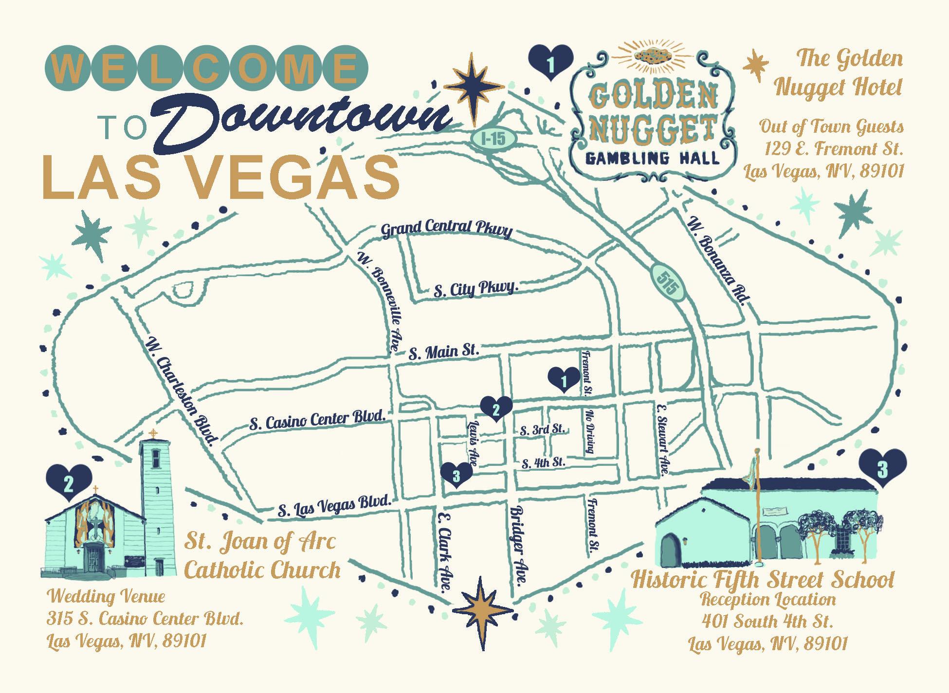 Las Vegas Wedding Invitation, Downtown Las Vegas, Las Vegas Map ...