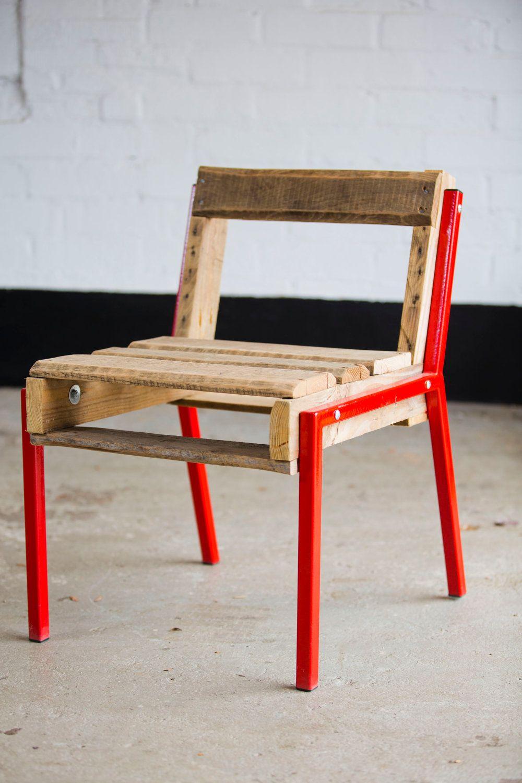 Open Back Pallet Chair Steel Legs. 199.00, via Etsy