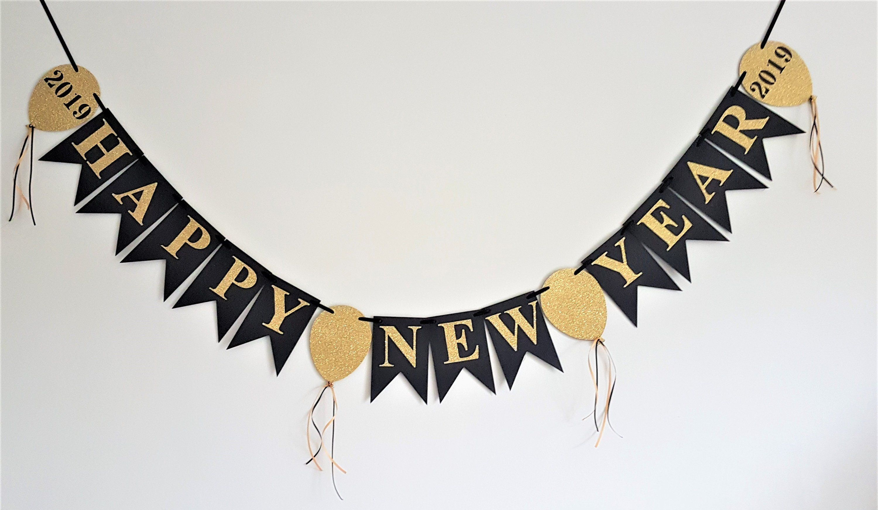 Happy New Year banner. 2019 new year banner. Black and ...