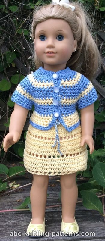 American Girl Doll Elizabeth Summer Skirt and Jacket | Crochet Doll ...