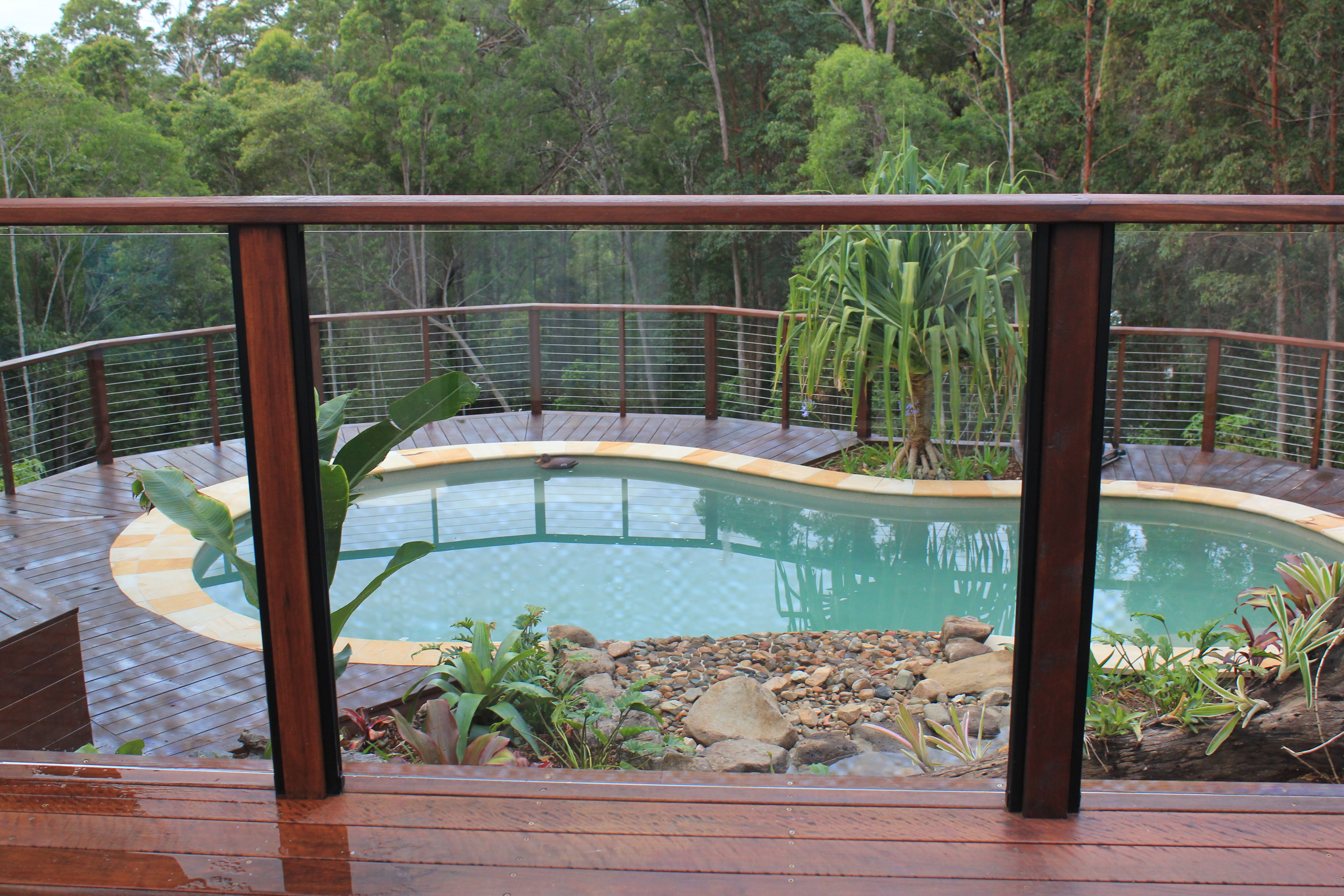 Exterior Appealing Steel Pool Ideas With Horizontal Bars And Flat Top Also Combine With Bricks Floor Stainless S Patio Balustrade Ideas Backyard Decks Backyard