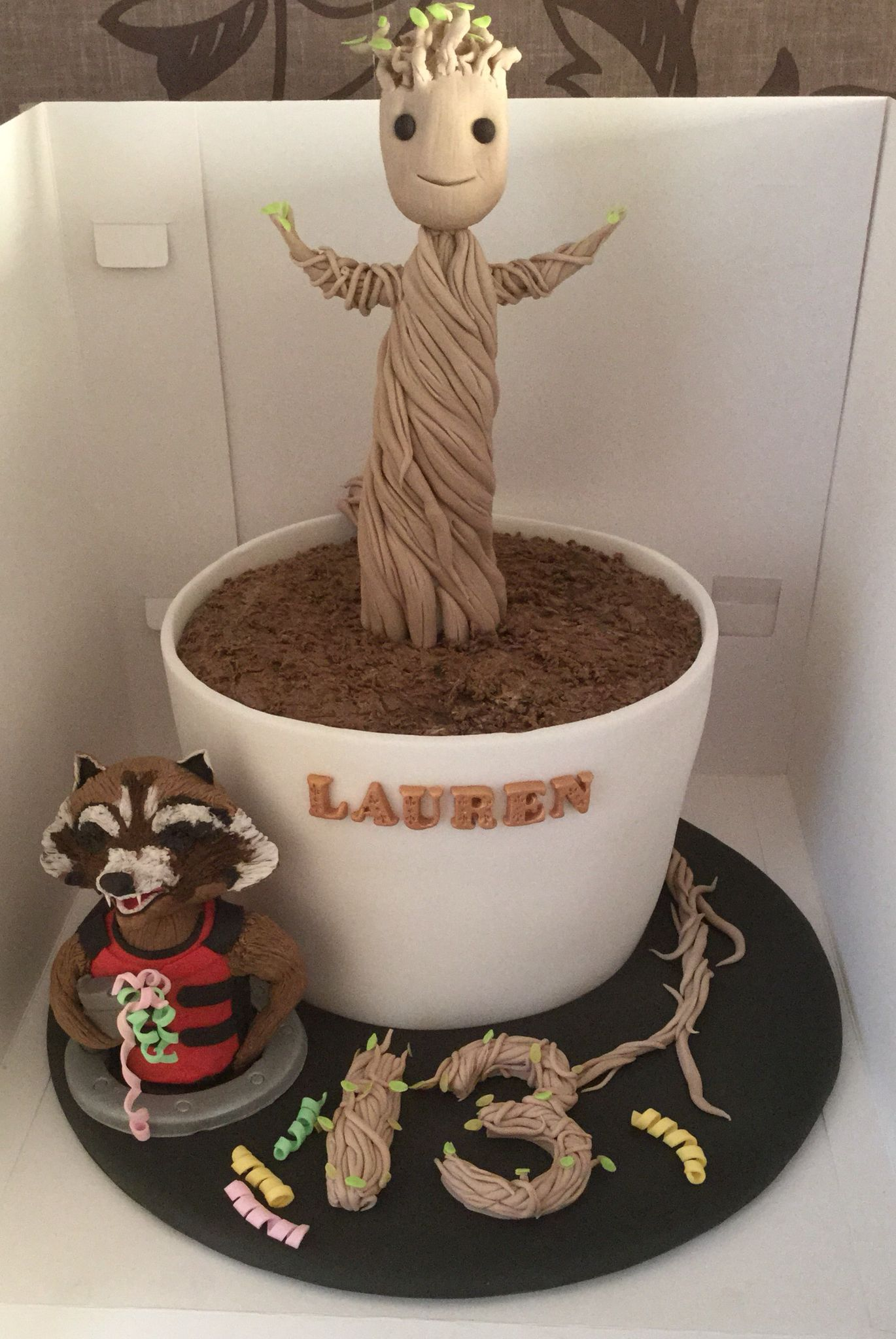 Baby Groot Cake With Sugar Rocket Model Food For A Fatty