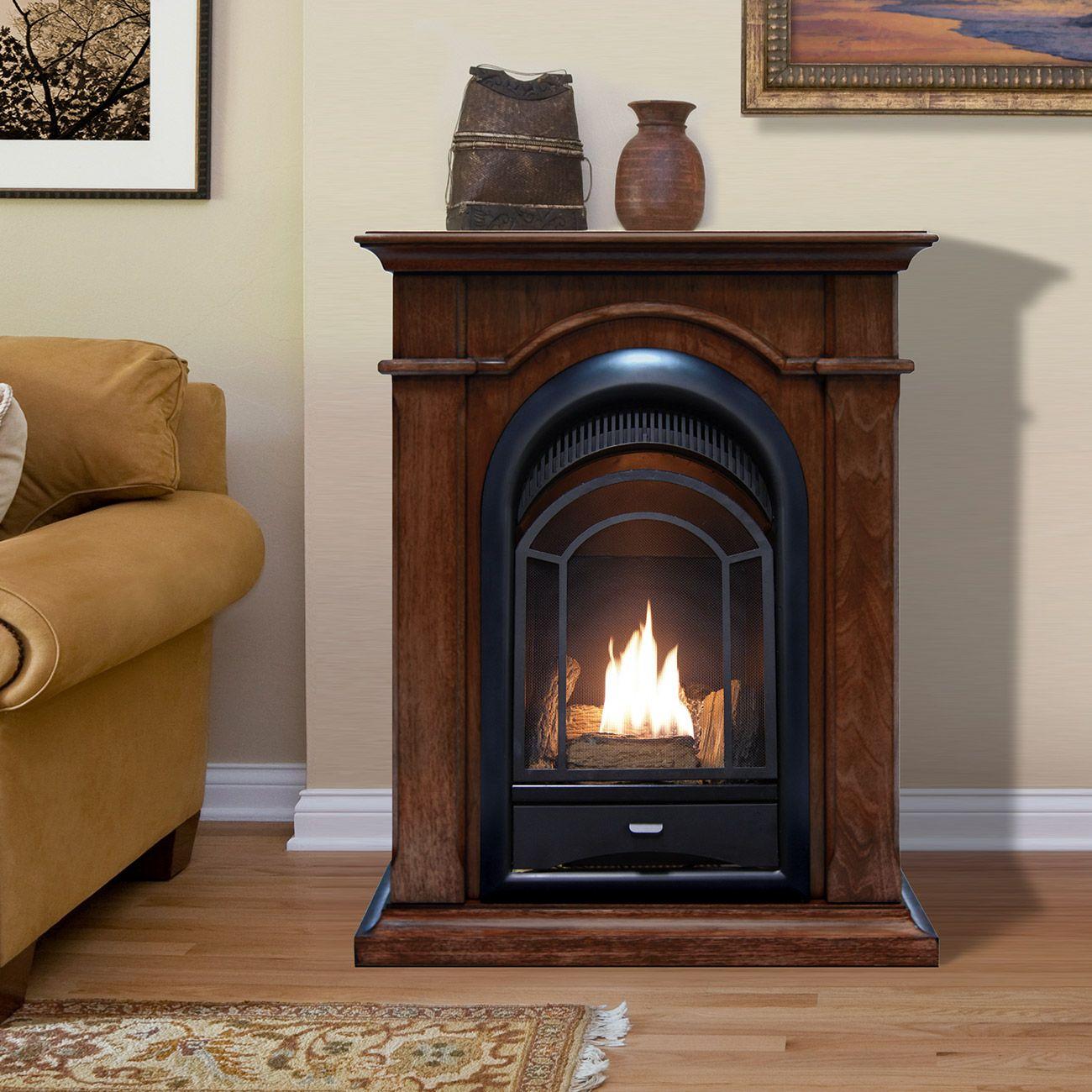 Ventless Fireplace System Corner Combo Dual Fuel Walnut Finish 15 000 Btu In 2020 Propane Fireplace Indoor Gas Fireplace Portable Fireplace