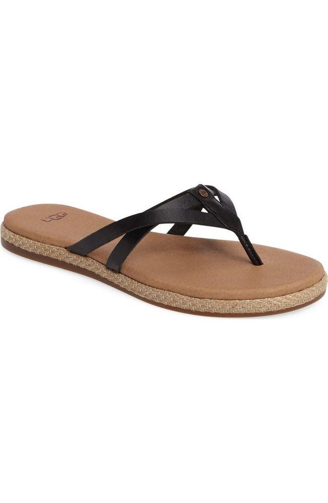 2dde9412142ce Ugg W Annice 10166119 Black Flip Flops Size 8.5 NIB Sandal Womens Women s