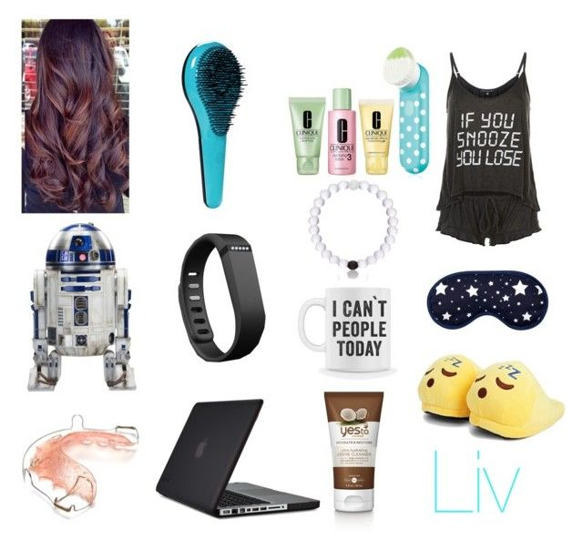 """""""Liv's Sleepwear"""" by cupcakepanda7339 ❤ liked on Polyvore featuring Wildfox, Boohoo, R2, Speck, Fitbit, Clinique and Everest"""