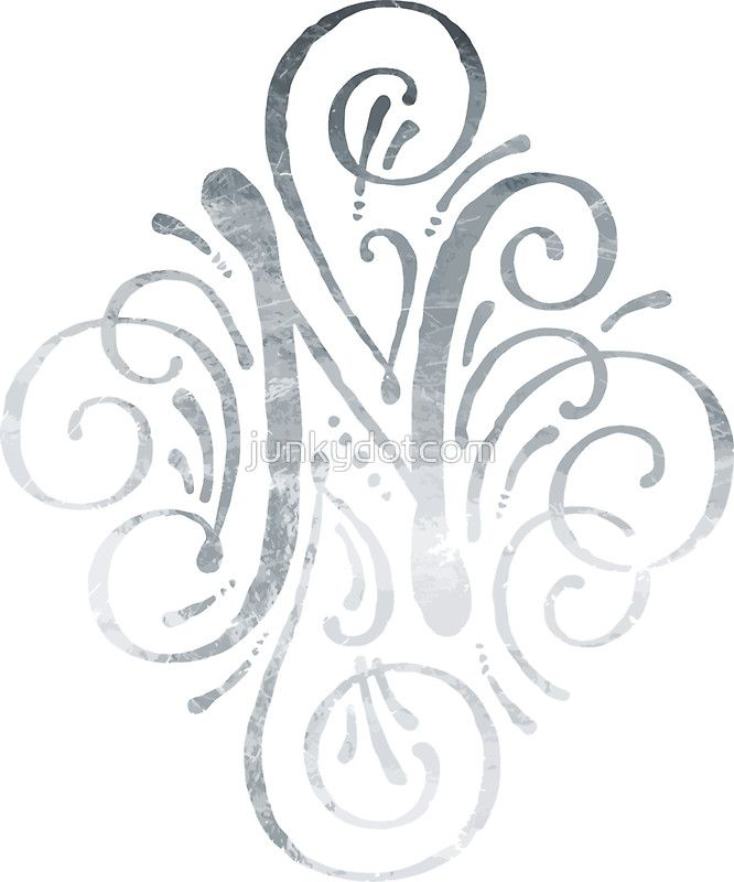 Monogram Silver Calligraphy Letter N By Junkydotcom