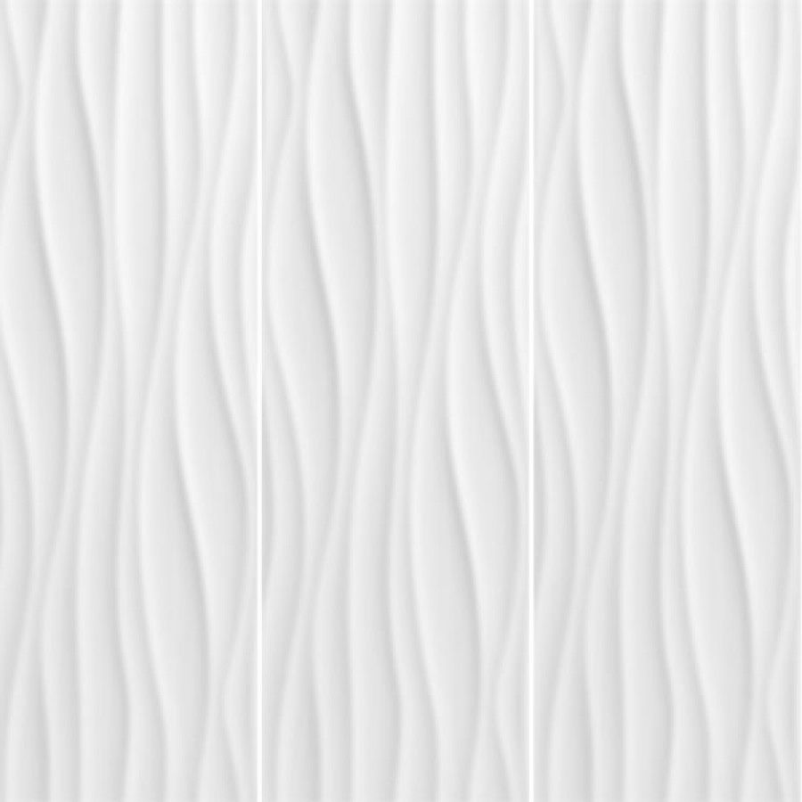 Decorative Wall Tile Patterns : Wave blanco brillo gloss glazed ceramic wall decor tiles
