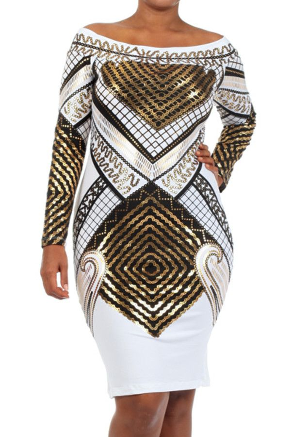 Gold and White Cocktail Dresses Plus Sizes