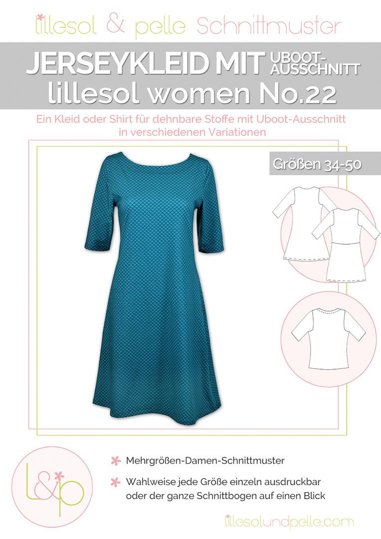 Ebook / Schnittmuster lillesol women No.22 Jerseykleid mit Uboot ...