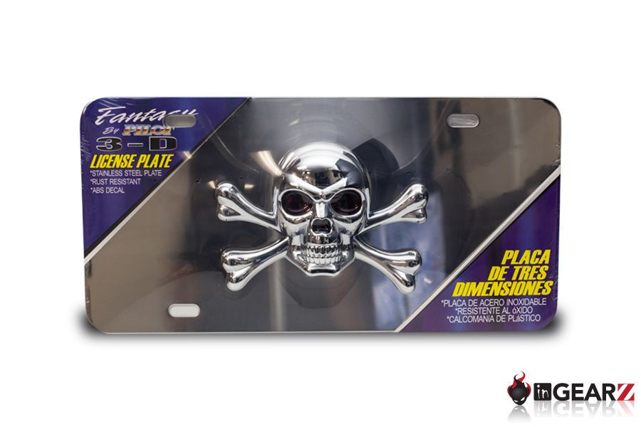 Skull and Crossbones on Black Auto License Plate  Pirate