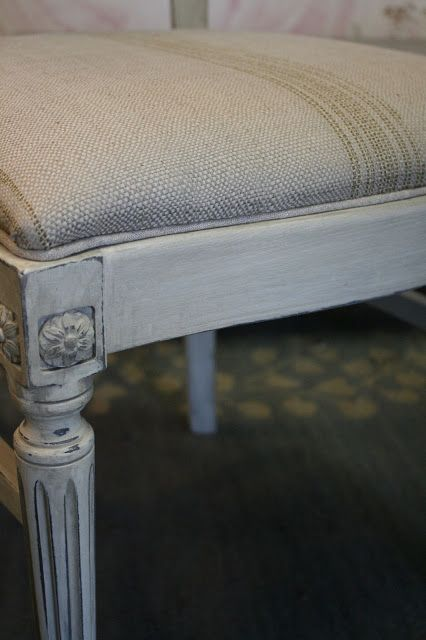two coats of Old White Chalk Paint.  distress the edges and then paint a wash over the Old White, made by thinning French Linen Chalk Paint with water.
