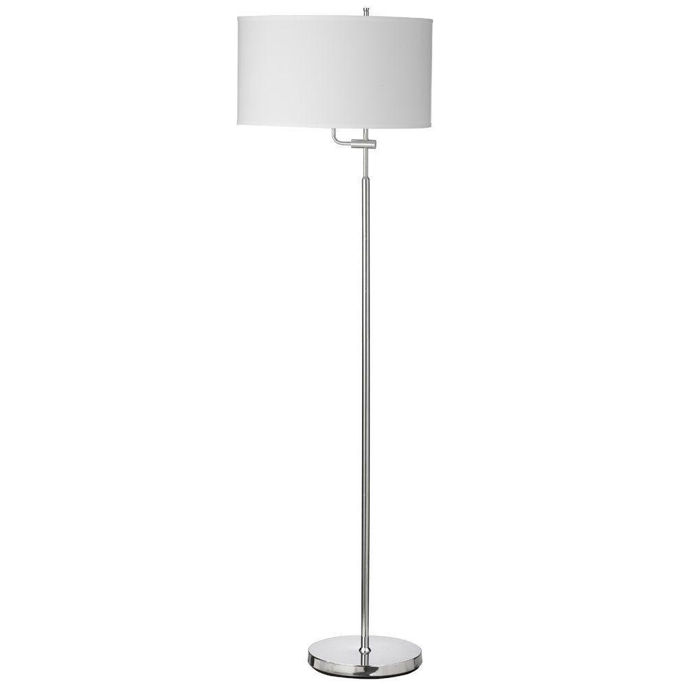 dainolite adjustable modern floor lamp in chrome white shade 156f pc