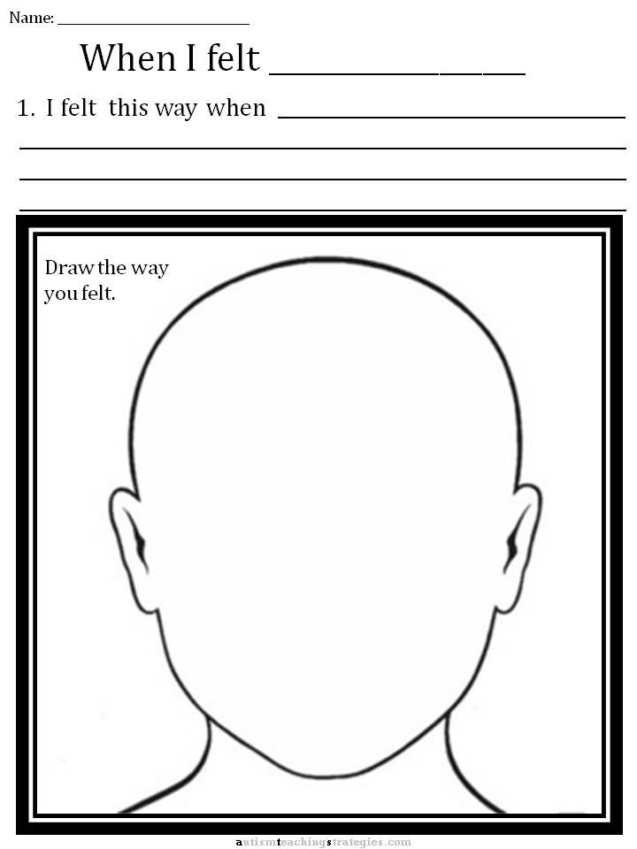CBT Children\'s Emotion Worksheet Series: Draw your upset face and ...