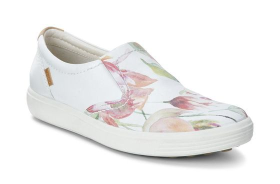 Ecco Womens Soft 7 Slip On White Floral Print White Powder Ecco Shoes Women Leather Slip On Shoes Casual Shoes Women