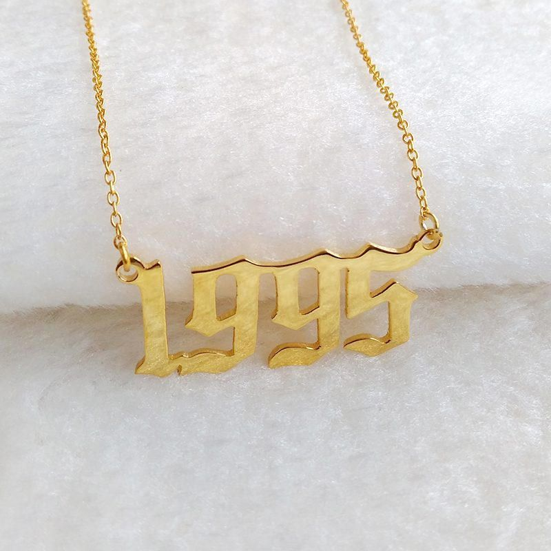 1989 Old English Necklace,Birthday Gift Necklace,Anniversary Gifts,Birth Year Necklace Gold Personalized Year of Birth Necklace