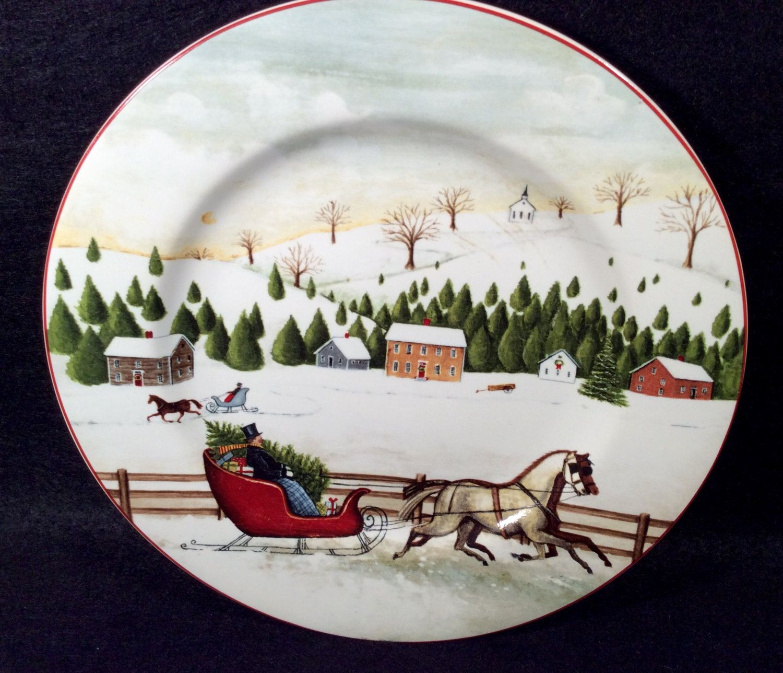 Sakura CHRISTMAS VALLEY Salad Plate Ref D Village Scene Dinnerware ...