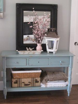 Entry table - What if I painted ours blue....you know the one I already had Steve paint red.....