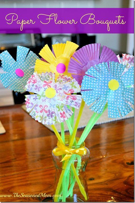 spring craft for kids  paper flower bouquet