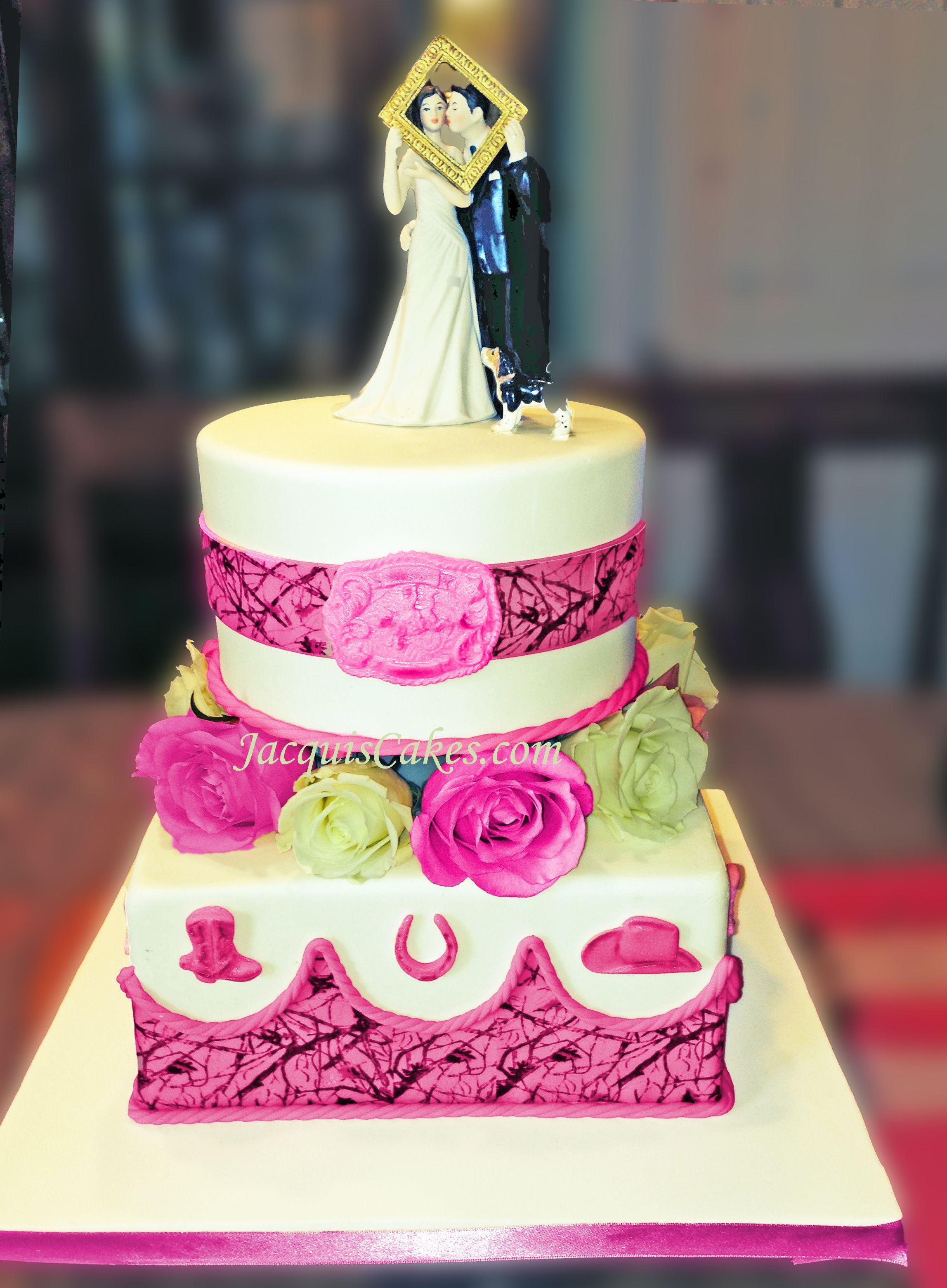 Western style pink camouflage wedding cake   Wedding Cakes by ...