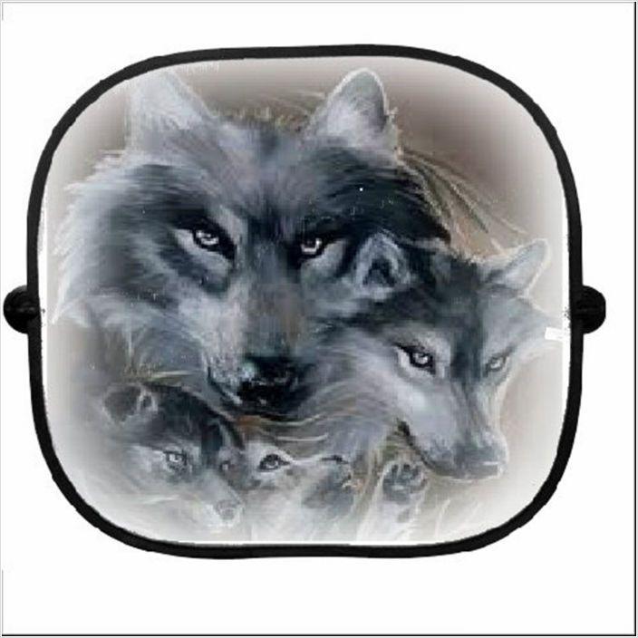 2x Car Printed Sun Shade Personalised Wolf 013 On Ebid United