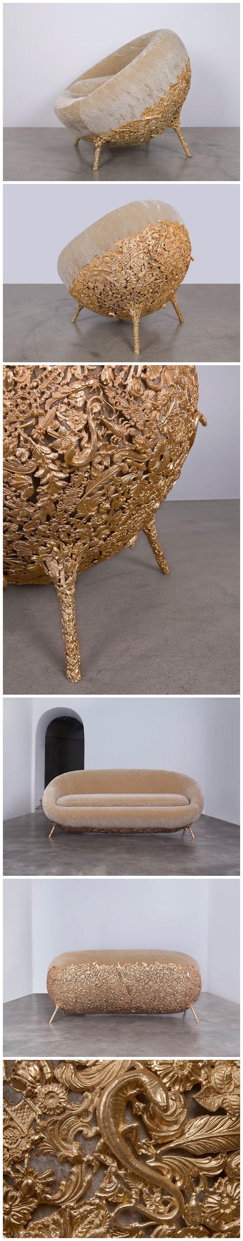 Fernando and Humberto Campana - Brazilian Baroque furniture, interior design, home decor, furniture, seating, couches, sofas, chairs, beige, gold