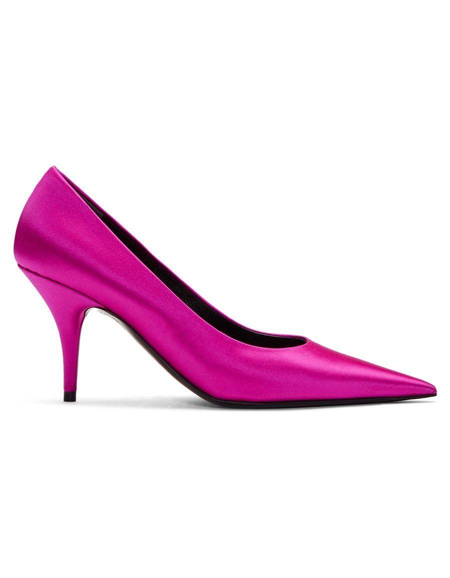 648c8bfdeaa BALENCIAGA Pink Satin Knife Heels · VERGLE