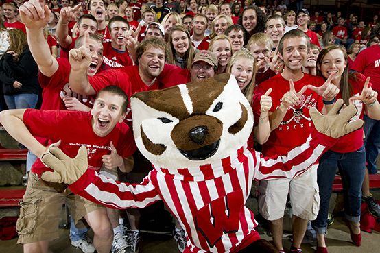 Bucky And The Block Party Student Section At The Uw Field House Badger Volleyball Favorite Team University Of Wisconsin