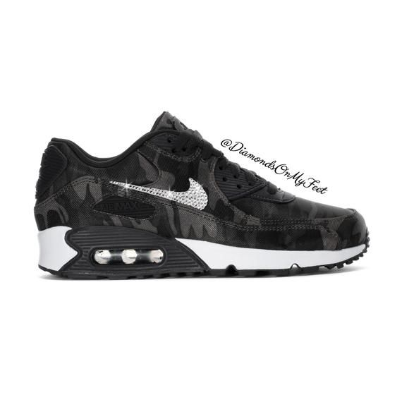 Swarovski Women's Nike Air Max 90 Black Camouflage Sneakers Blinged Out With Authentic Clear Swarovski Crystals Custom Bling Nike Shoes