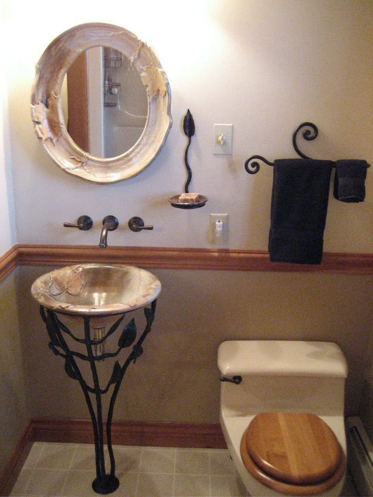 Small Corner Bathroom Sink Design Ideas : Bathroom Vintage Vessel Sink With Wonderful Bas Relief Design And Leaf And Branch Wrought Iron Pad...