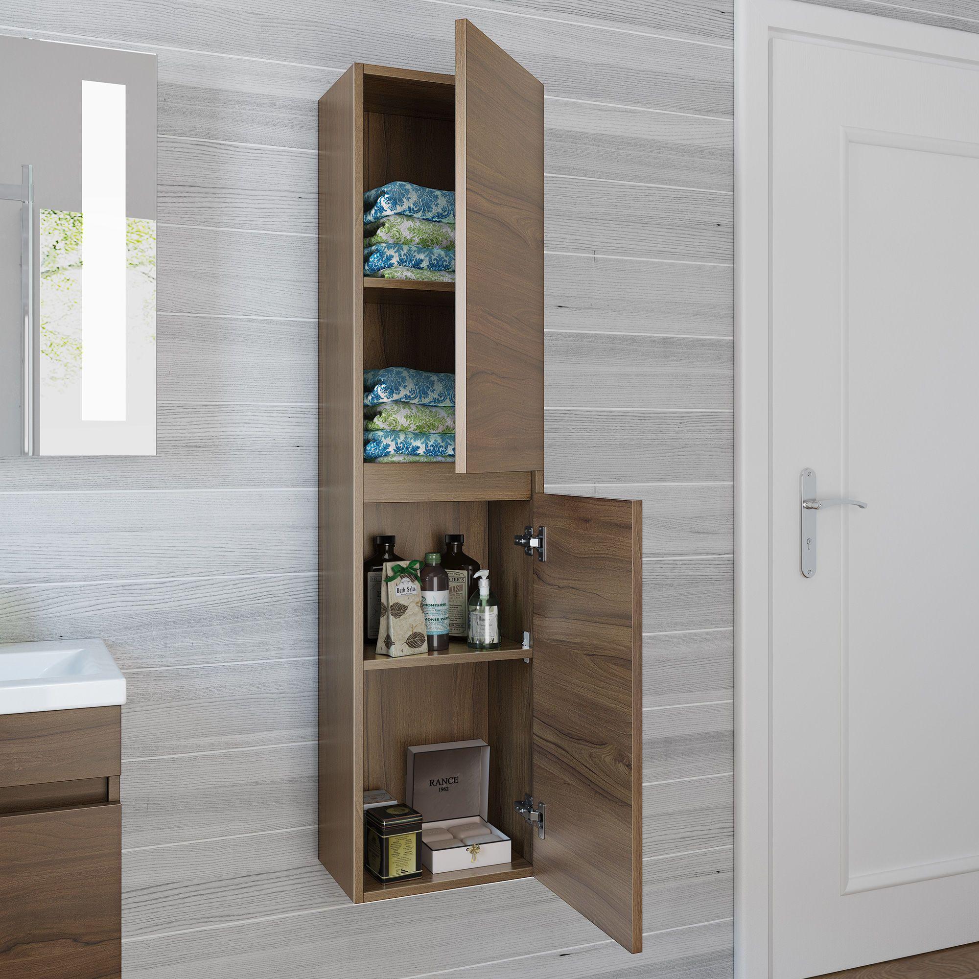 1400mm Trent Walnut Effect Tall Storage Cabinet Wall Hung Tall Cabinet Storage Bathroom Wall Hanging Cabinet [ 2000 x 2000 Pixel ]