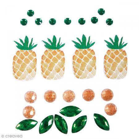 Pegatinas Piña tropical y strass y strass - De 0,5 cm a 5 cm - 26 uds - Fotografía n°1
